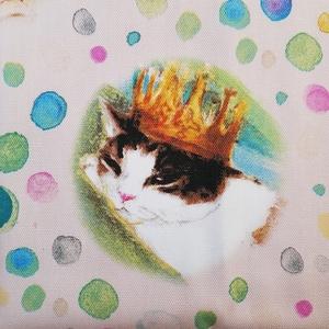 生地巾×75cmカットクロス■ manhattaner's マンハッタナーズ 【水玉のフェデリコ】ピンク 桃色 プリント生地 猫 ネコ CAT 色違いあり