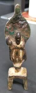 中国 唐代 仏像 佛像 古銅製 銅鍍金 仏立像 時代物 西藏佛像☆中国古玩仏教美術佛教美術古董古美術