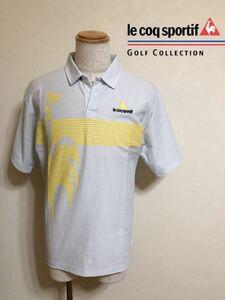 【良品】 le coq sportif GOLF COLLECTION ルコック ゴルフ コレクション ストライプ ビッグロゴ ドライ ポロシャツ ウェア 半袖 サイズL