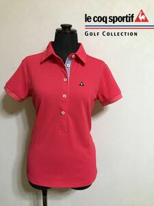 【美品】 le coq sportif GOLF COLLECTION ルコック ゴルフ レディース ドライポロシャツ トップス サイズM 半袖 ピンク QGL1733 デサント