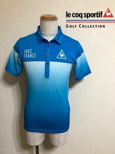 【美品】 le coq sportif GOLF COLLECTION ルコック ゴルフ ウェア ブルー グラデーション ドライポロシャツ サイズM 半袖 デサント QG2687
