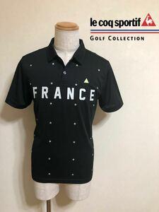 【美品】 le coq sportif GOLF COLLECTION ルコック ゴルフ コレクション ドライポロシャツ トップス 半袖 サイズM 黒 星柄 QG2816