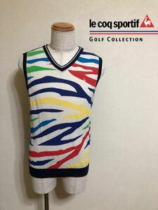 le coq sportif GOLF COLLECTION ルコック ゴルフ コレクション 綿 ニット ベスト トップス ウェア サイズL QG5056 デサント