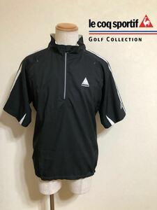 【美品】 le coq sportif golf collection ルコック ゴルフ コレクション ウインド ハーフジップ ウェア 半袖 サイズL 黒 プルオーバー