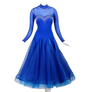 レディース社交ダンス ワルツダンスドレス ロングワンピース 新入荷 サイズS-XXL 調整対応 青色 キラキラ飾り