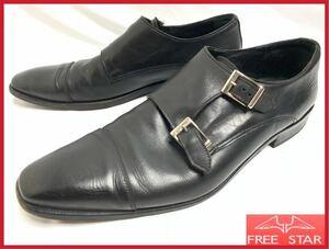 即決★イタリア製★ISETAN MEN'S 44 27cm 黒★伊勢丹 メンズ 本革 レザー ビジネス ドレス シューズ ダブルモンクストラップ 紳士 革靴