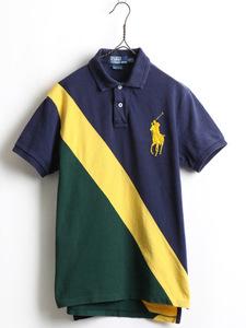 ビッグポニー ■ POLO ポロ ラルフローレン ラガー タイプ 鹿の子 半袖 ポロシャツ ( メンズ 男性 M ) 古着 半袖シャツ 紺 黄 緑 ラグビー