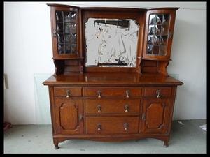 【イギリスアンティーク家具】 オークキャビネット 飾り棚 ケイム仕上げガラス/ステンドグラス