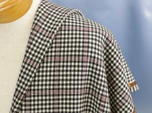 ■イタリア「ゼニア」の最高級ジャケット生地「BEST」ベスト・内モンゴルカシミア100%・白黒シェパードチェック