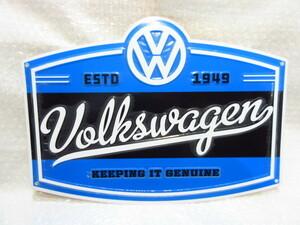 VW US純正 筆記体ロゴプレート/ESTD 1949 KEEPING IT【GENUINE PARTS】新品/ガレージサイン/