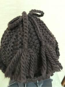 手編み シンプルなニット帽 ワッチ 濃茶 リボン 新品 1点物 プレゼント ハンドメイド ハマナカ