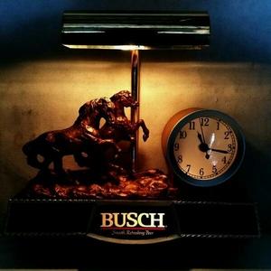 【ネオン】BUSCH★ブッシュ ビール 看板 クロック 卓上 電飾 ライト 照明★BAR レジ カウンター 取り付けタイプ