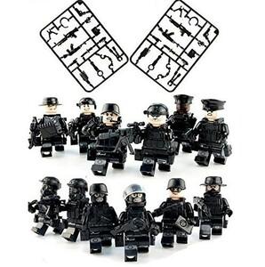 送料無料…LEGO レゴ 互換 ブロック SWAT 特殊部隊 フル装備 大量武器パーツ ミニフィグ 12体セット