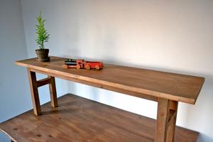 アンティーク ベンチ シェルフ 120 幅広 無垢 インダストリアル 蚤の市 木製 大きい カフェ 什器 マルシェ