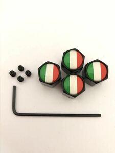 イタリア 国旗 エアー バルブキャップ イモネジ レンチ 盗難抑止 フェラーリ Ferrari 575 599 612 F12 F355 イタリア カリフォルニア 黒