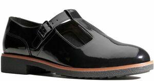 Clarks 26.5cm フラット ブラック 黒 パテント レザー 革 T ストラップ メリージェーン フォーマル バレエ スニーカー ブーツ AB56