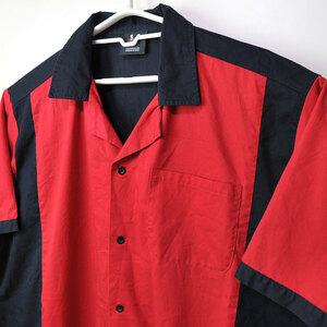 古着●ヒルトン ボウリングシャツ レッド&ブラック L 裾汚れ xwp