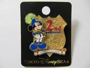 TDS 東京ディズニーシー 2003年 2周年 2nd 記念 限定品 ミッキーマウス ピンバッジ ミッキー ピンズ レア ディズニーランド 新品