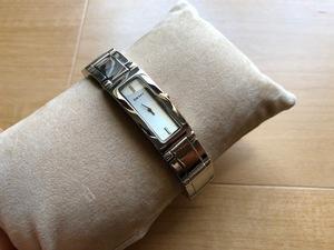 KK662 良品程度 DKNY ダナキャランニューヨーク 角ケース シルバー系文字盤 純正SSブレス NY-3167 クオーツ レディース 腕時計