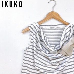 送料無料【IKUKO】ボーダーチュニックワンピース/リボン/ノースリーブ/2★イクコ