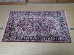 奇跡の逸品 アンティーク オールド パキスタン カシミール産 シルク 絨毯 手織り ラグ マット カーペット 家具 北欧 ペルシャ絨毯 段通