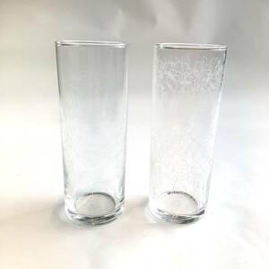 昭和レトロ グラス 植物絵柄 2個セット