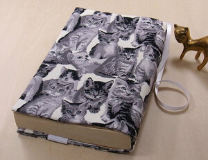 07 B hand made library book@② book cover white black . cat monochrome reading house book@ liking cat .. cat cat cat present