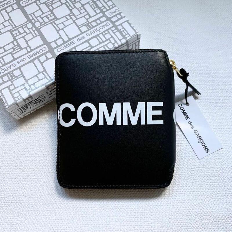 新品 コムデギャルソン HUGE LOGO ロゴ 二つ折り ジップ 財布 ウォレット SA2100HL 黒 ブラック Wallet COMME des GARCONS サイフ