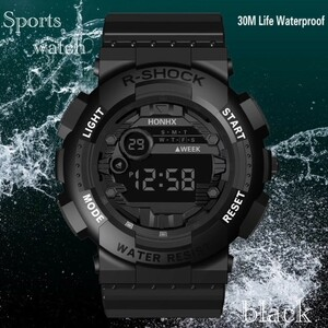 腕時計 スポーツ腕時計 デジタル時計 LEDライト ミリタリー スポーツ アウトドア ランニング アウトドア アクリルケース ブラック21