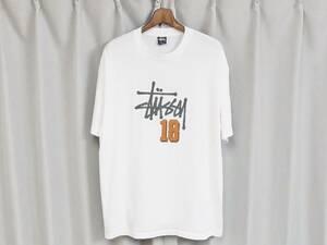 ◆90s old Stussy オールドステューシー Tシャツ ワールドリーグ #18 紺タグ USA アメリカ製 白 ホワイト XL WORLD LEAGUE 送料無料