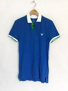 AMERICAN EAGLE OUTFITTERS メンズ SLIM FIT 半袖コットンポロシャツ XS スリムフィット Tシャツ 青 緑 白 刺繍