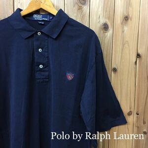 90s USA直輸入〈Polo by Ralph Lauren〉ポロ ラルフローレン◇メンズ size M / ネイビー 半袖 コットン ポロシャツ トップス ロゴ刺繍