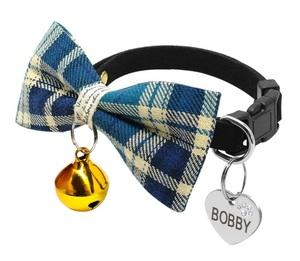 小型犬 ネコ用 首輪 蝶ネクタイ 刻印 名入れ無料 青系 ペット用ネックレス ブレスレット ネームタグ
