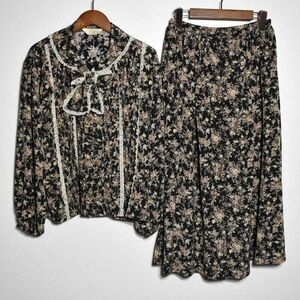 KETTY ケティ ピコフリル&リボン 花柄 上下 セットアップ 9号 薔薇 前開きスカート