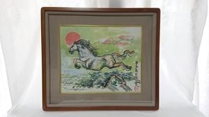 正規品 北村西望 工芸複製画「九十五寿」画寸 45×38cm 旭日に天を翔る駿馬とお目出たく長寿を称える作品 代表作に長崎平和祈念像 1763