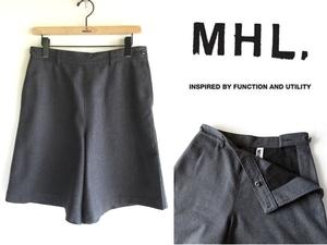 MHL. マーガレットハウエル ウールフランネル ワイドショートパンツ キュロットパンツ 2 チャコールグレー 日本製 MARGARET HOWELL