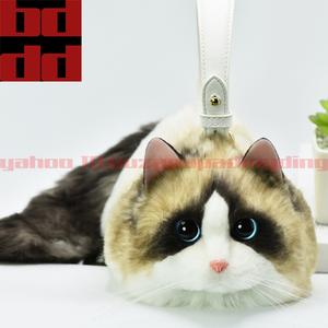 レディースふわふわもこもこ超可愛い猫バッグショルダーハンドバッグ化粧品コスメケース小物入れ100%ハンドメイドおしゃれお出かけ女性 N10