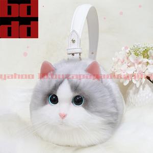 レディースふわふわもこもこ超可愛い猫バッグショルダーハンドバッグ化粧品コスメケース小物入れ100%ハンドメイドおしゃれお出かけ女性 N09