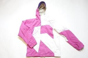 中古 09/10 A-seven エーセブン 白/ピンク スノーボードジャケットウェア レディースLサイズ