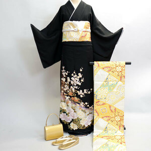 黒留袖フルセット 家紋入れ可能 別途¥6000 正絹 着物 7日レンタル(株)安田屋 NO12203