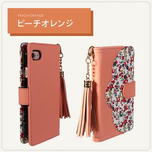Android One S5 花柄レザーケース 手帳型ケース 手帳型カバー スマホケース スマホカバー ピーチオレンジ