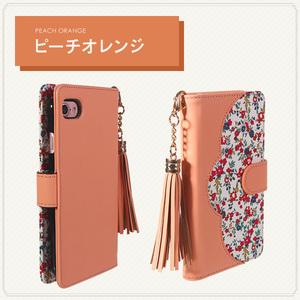 au HTC J butterfly HTL23 花柄レザーケース 手帳型ケース 手帳型カバー スマホケース スマホカバー ピーチオレンジ