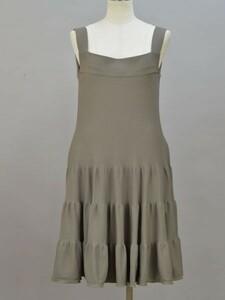 フォクシー FOXEY Dress Tiered ニットキャミソールワンピース/ドレス 40サイズ カーキブラウン レディース F-L5904
