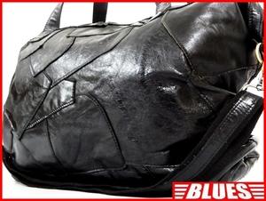 即決★N.B.★オールレザーボストンバッグ メンズ ブラック 本革 トラベル 本皮 かばん 出張 カバン 旅行 ショルダー 鞄 2way パッチワーク
