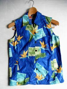 USAハワイ製Hiro Hattie ザ ハワイアン オリジナル アロハシャツ MADE IN HAWAII USA シャツ トップス青レディース ノースリーブ XS