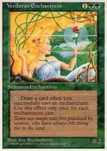 010120-002 4E/4ED 新緑の女魔術師/Verduran Enchantress 英1枚