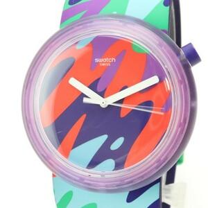 Y768T スウォッチ POP ポップ クオーツ 腕時計 美品 パープル スケルトンケース カラフル文字盤 純正 ラバーベルト