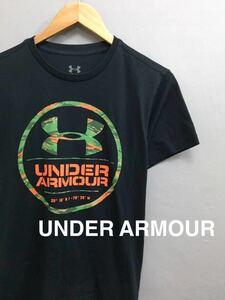 アンダーアーマー UNDER ARMOUR ビッグロゴ カモフラ柄 Tシャツ 半袖 丸首 ブラック メンズ S Mサイズ ~○
