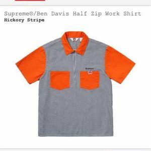 新品 Supreme×Ben Davis Half Zip Work Shirt シュプリーム×ベンデイビス ハーフジップ ワークシャツ ヒッコリー×オレンジ sサイズ