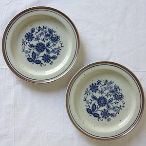 ボタニカルシリーズ プレート 小 2枚セット デットストック 1970年代 ストーンウェア 検: 陶器 皿 パスタ 洋食器 アンティーク ビンテージ